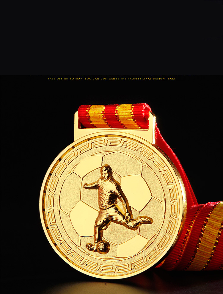 RU81118 Custom Gold Plating Football Promotion Award Medal