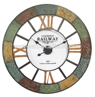 Artistic European Mute Metal Multi Color Wrought Iron Shabby Chic Wall Clocks