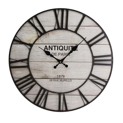 Retro Rural Style Custom Logo 60cm Silent Wooden Digital Wall Clock with Iron Outer Frame