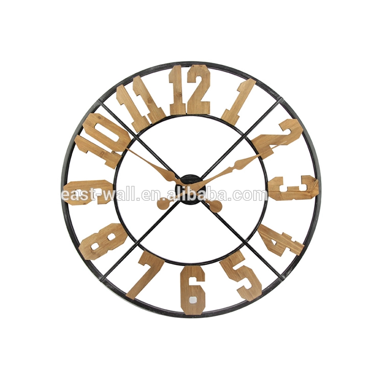 Circular Retro 3D Hollow Decoration Gear Wooden Clock Wall