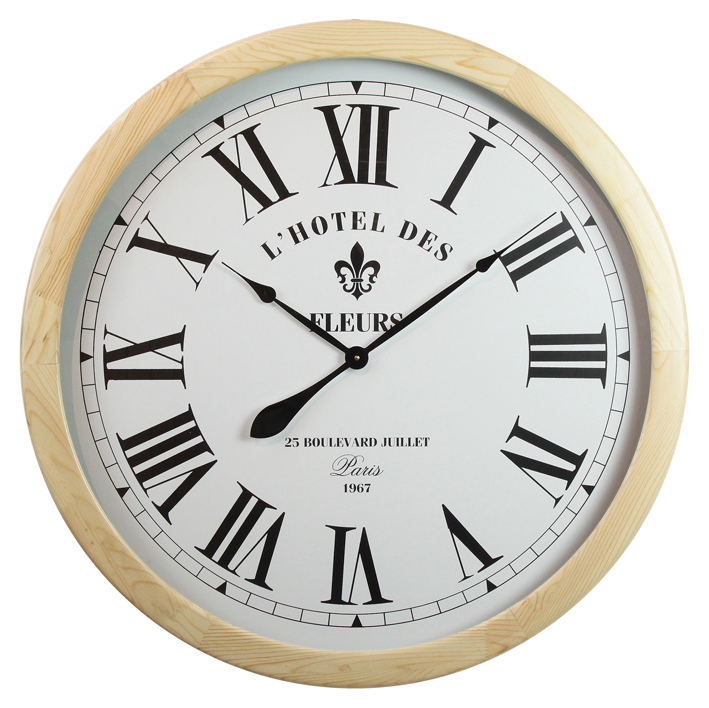 Home Decoration Simple Round Design 24 Hour Antique Wooden Pendulum Wall Clock