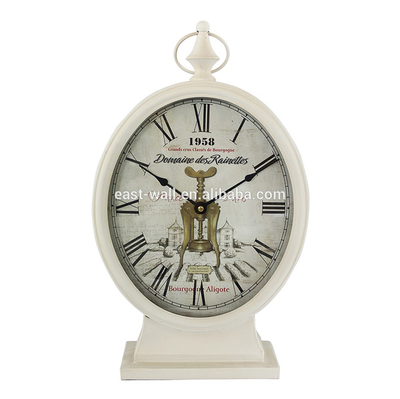 New Arrival White Wrought Iron Quartz Antique Table Clock
