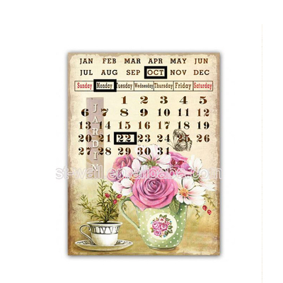 Promotional Price Retro Calendar Wall Hanging Plaques Metal Craft Decorations