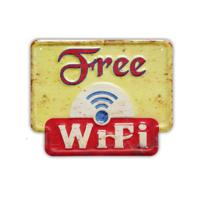 Embossed FREE WIFI Typeface Retro Metal Wall Signs Board Tin Sign