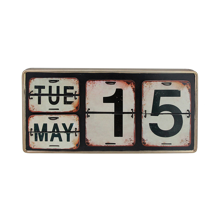 Cheap custom creative home decor table calendar vintage metal calendar