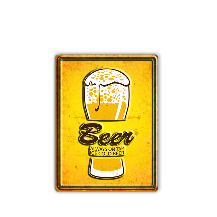 High Quality Hot Sale Wall Decor Hanging, Beer Tin Sign Metal Hanging Wall Plaque