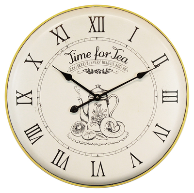 Selling Kettle Pattern Yellow Edge Antique Wall Clock Roman Numerals, Clock Wall Home Decor