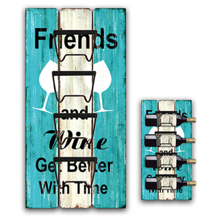 New Romantic Blue Hanging Wooden Wine Bottle Holder, Customizable Color Pattern Home Wine Rack