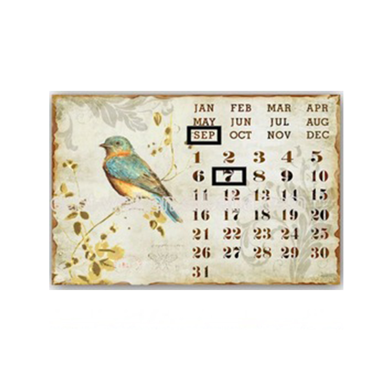Hot Selling Custom Color Calendar Marble Plaque Decorative Metal Cutting Craft