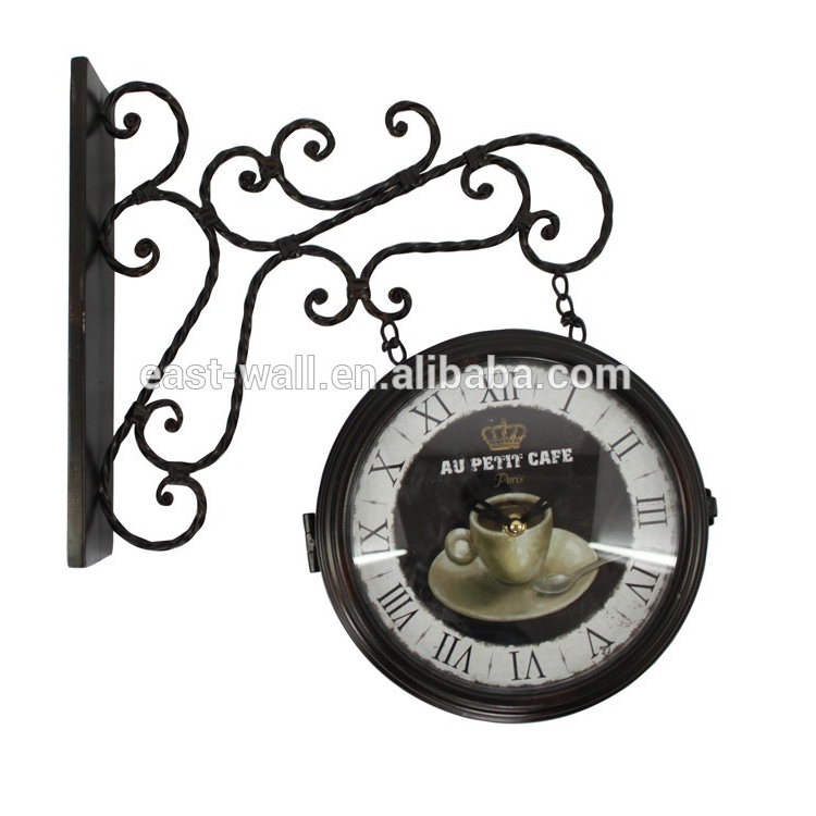 Coffee Bar Double Sided Wall Clock Antique Style Roman Numerals Iron Decorative Clock