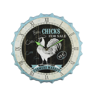 Factory Outlet Vintage Customizable Logo Interior Classic Blue Wall Clock