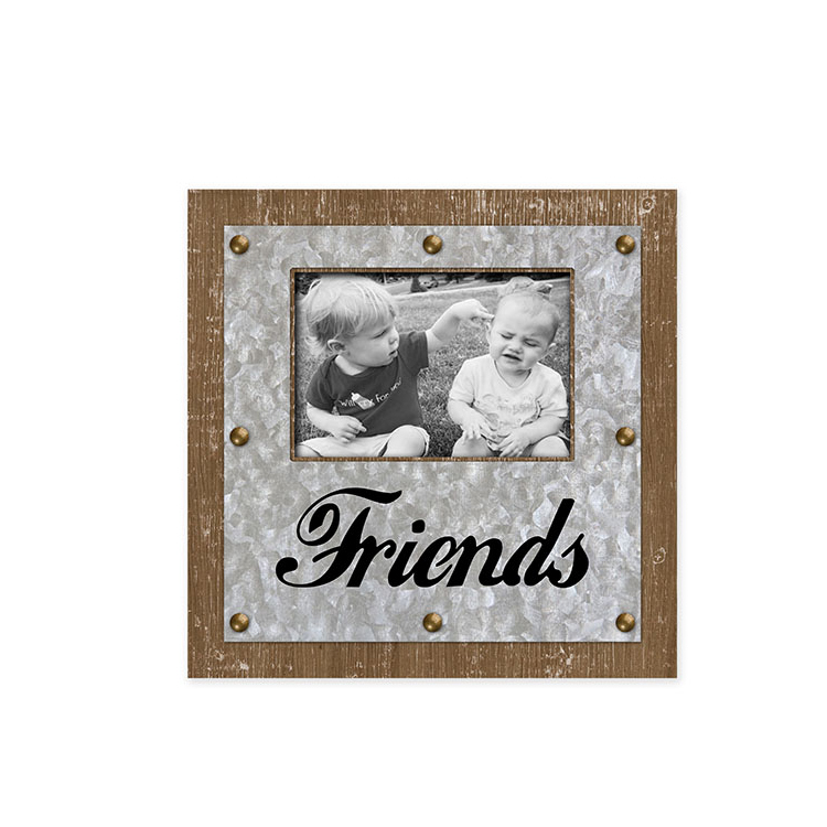 Wholesale MDF Art Decor Vintage Square Galvanized Photo Frame