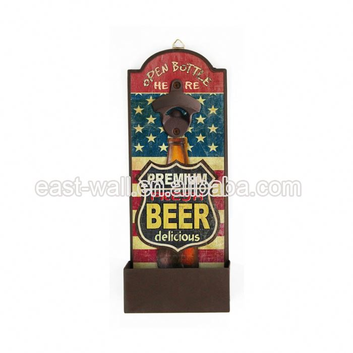 Hot Selling Cheap Prices Rustic Metal Wall Mounted Beer Magnetic Bottle Opener Custom Logo