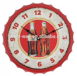 "13"" Man Cave Garage Cola Style Bottle Cap Antique Style Wall Clocks"