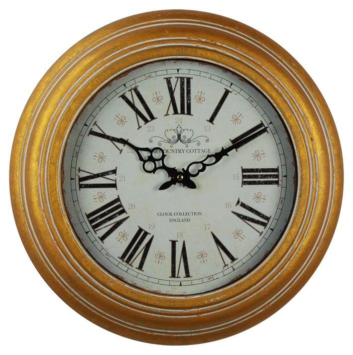 China Manufacturing Cheap Price Gold Minimalistic Wall Clock Vintage