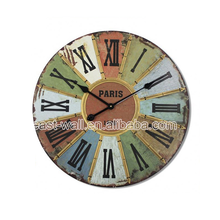 Customized Logo Antique Style Iron Tire Wall Clock Different Types Of Clocks