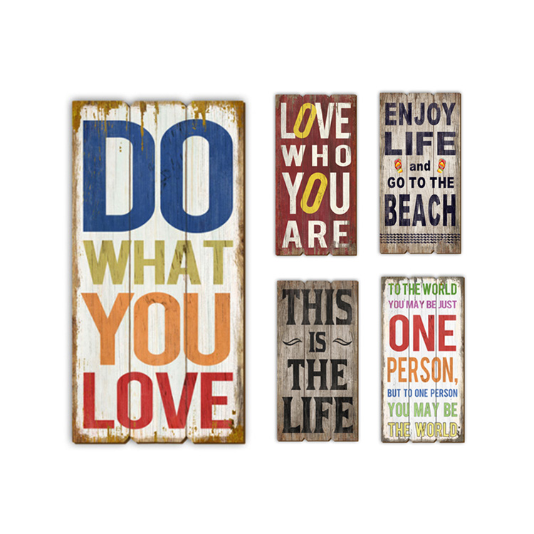 Hot Sale Decorative Wooden Wall Hanging Plaque Support Custom Color Slogans