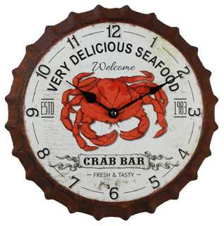 Large Round Crab Pattern Vintage Wall Clock Decor Custom Logon, Bottle Cap Unique Wall Clock Designs