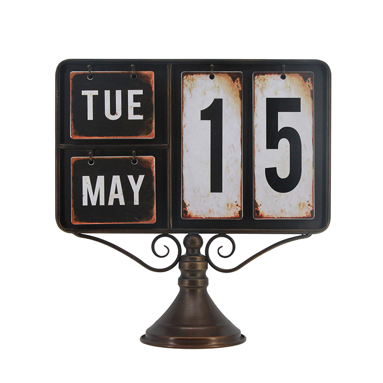 Fashion Decorative Vintage Metal Calendar Stand Desktop Easy to Replace