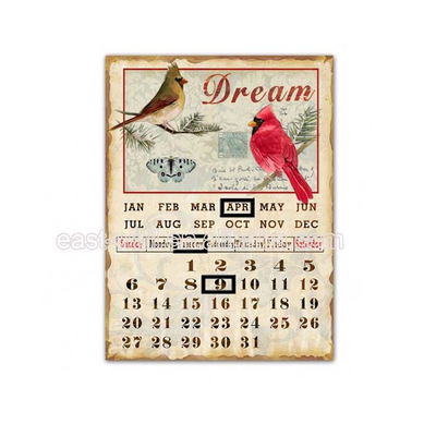 Custom Design Vintage Style Calendar Clay Poker Plaque Custom Metal Shapes For Crafts