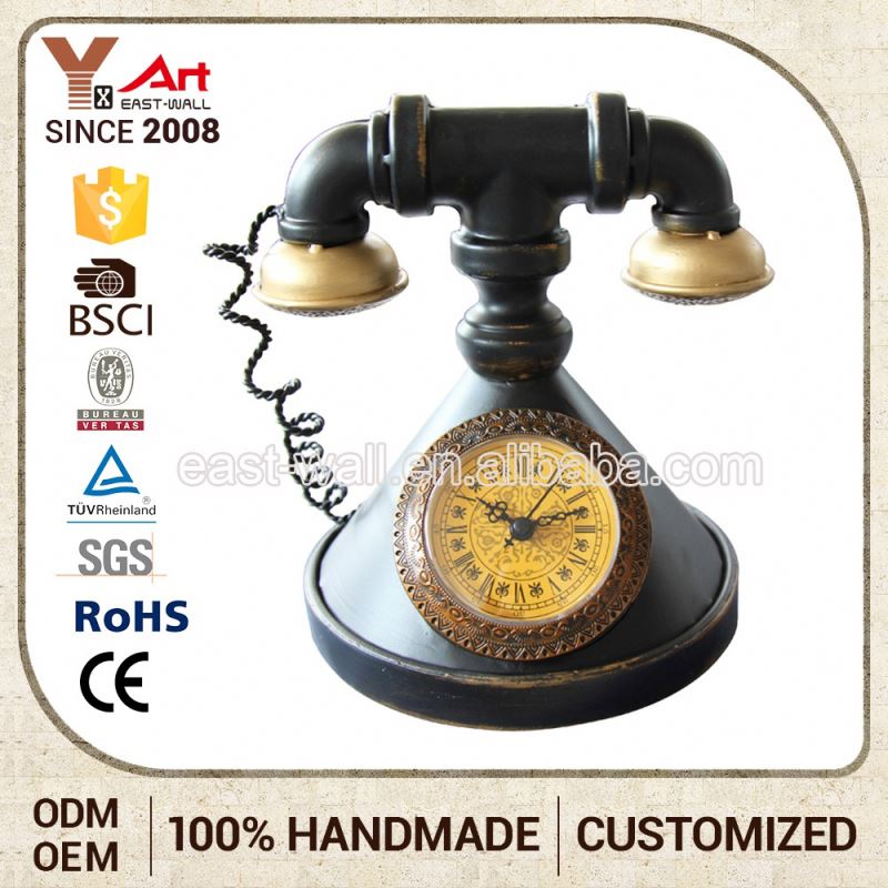 Hot Sale Custom Color Antique China Vintage Telephone Shaped Clock