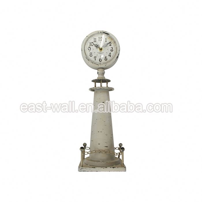 Cheapest Price Embroidery Design Oem Service Lighthouse Shape Lighted Clock Table Clocks