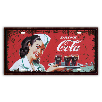 Tin Sign Coffee Bar Home Wall Decor Plaques