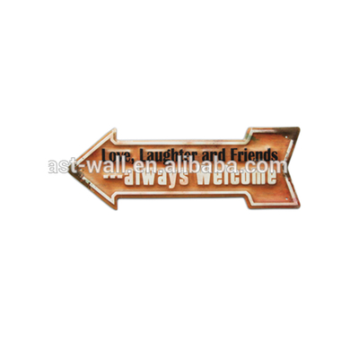 Decorative Blank Metal Wall Signs Embossed Iron Plaque Custom Color