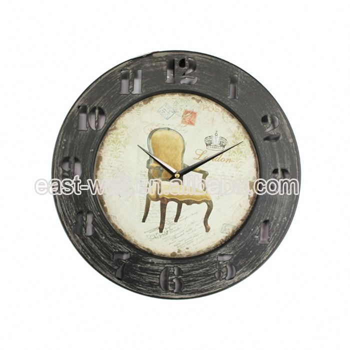 Black border Wood Round Wall Clock, Antique Wall Clock for Home Decoration