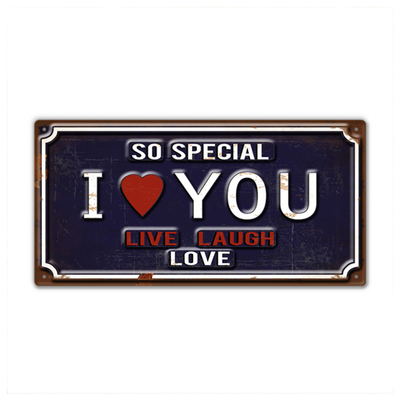 Love Theme Metal Words Sign Decorative Craft Rectangle Modern Plaque
