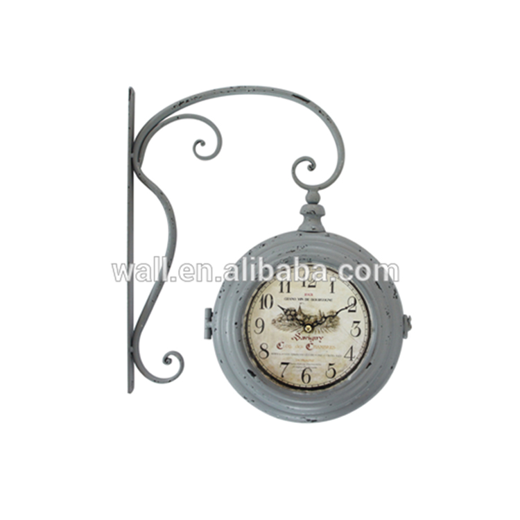 Hot Selling Bathroom Design Vintage Double Sides Iron Wall Clock