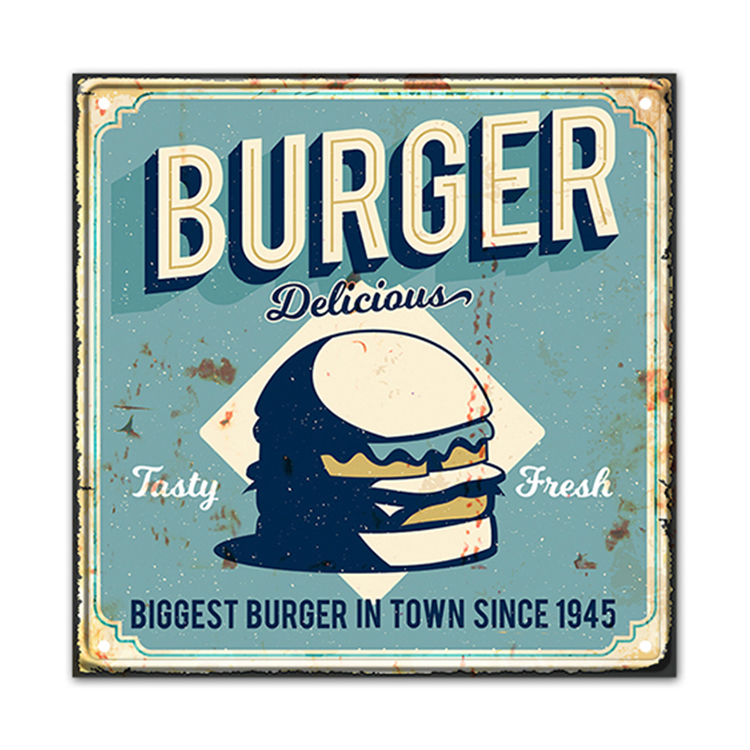Custom design wall art restaurant food theme decorative small metal plaque for wall decor