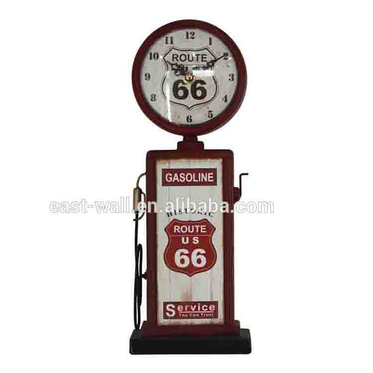 ROUTE 66 Antique Metal Table Clock