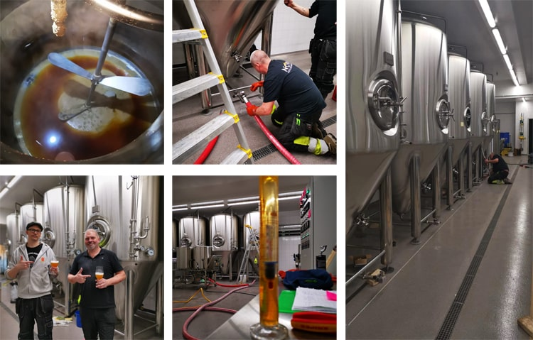 Install equipment in Sweden for 2000L beer brewery system