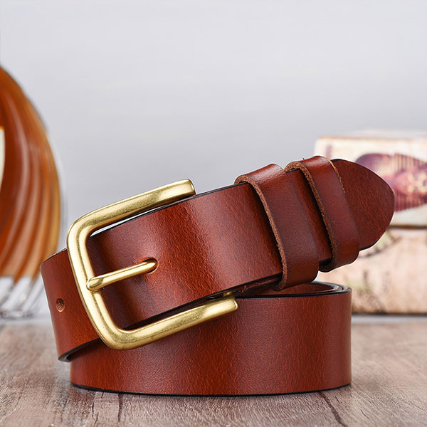 Men's copper buckle top layer leather belt