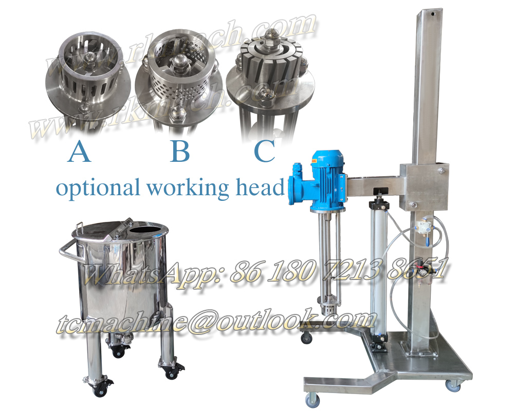 High Shear Homogenizing Mixer with Pneumatic Lift Stand