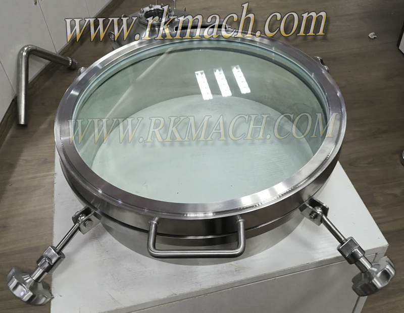 Sanitary round pressure manway door manhole cover with glass pane