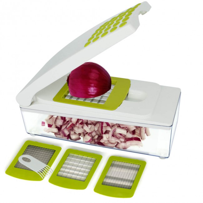 CHEFLY Mandoline Vegetable Chopper Onion Slicer Dicer French Fry Cutter with Food Container 3 Blades